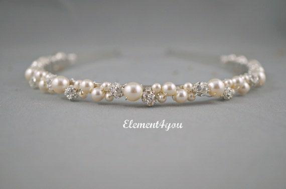 Swarovski Pearls rhinestone Balls Bridal Tiara Headband White or Ivory Beaded Silver Metal Hair Bridesmaid Wedding accessories Hair piece