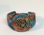 Ancient Maya Coin Decoupage Collage Mixed Media Wearable Art Bangle Cuff Bracelet OOAK / Statement / Boho Chic