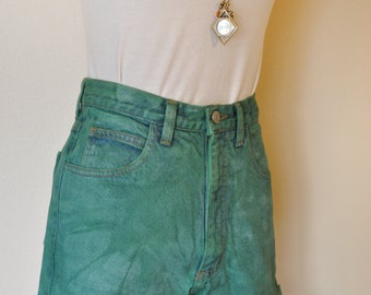 Green Sz 28 Denim Jean SHORTS - Hand Dyed Green Upcycled Guess Urban Style Denim High Waist Vintage Shorts - Adult Womens Size 28