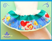 Little Mermaid Ariel inspired triple layer girls ruffle socks- you pck top rbbon color -baby to women's sizes available-completes the outfit