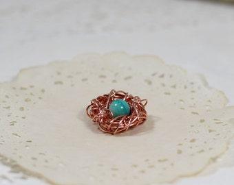 New mom Birds nest pendant, copper bird nest charm, baby boy mommy gift, new baby jewelry, gift for new mommy