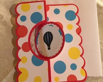 Hello Flip It Hot Air Balloon Red Blue and Yellow Handmade Greeting Card