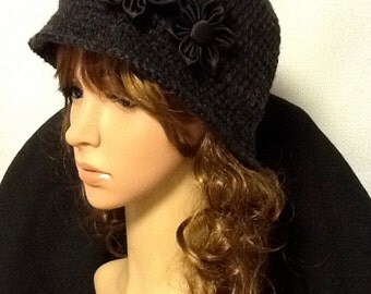 Crocheted Cloche in Charcoal