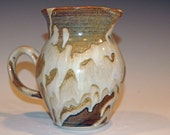 Large Ceramic Pitcher, Ceramics and Pottery Pitcher, Gold and White, Syrup Pitcher, Water Pitcher