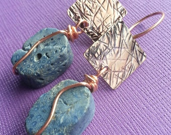 Blue Jean Necessity, Blue Coral and Copper earrings, ThePurpleLilyDesigns