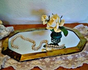 Brass Mirror - Vanity Mirror - Wall Decor Mirror - Rustic Home Decor - Vintage Brass Primitive Home Decor