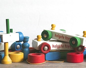 Wood Toy, Holegate Train Classic Vintage Wooden Holgate Train And Parts