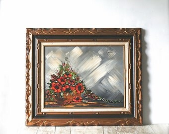 Painting, Mid Century Modernist Floral Stilllife Original Acrylic Painting Irene Rae Partridge Signed Framed Original Art