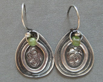 Beautiful Sterling Silver  Earrings with  Green African Trade Beads.