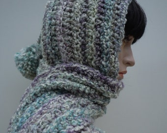 Hooded Scarf - Pixie Hood - Soft Pastel Colors Pixie - Womens Hat and Scarf - Crochet Hat and Scarf