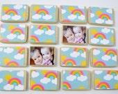 First Birthday Gift-Sunshine and Rainbows Personalized Matching Game by burlap and blue