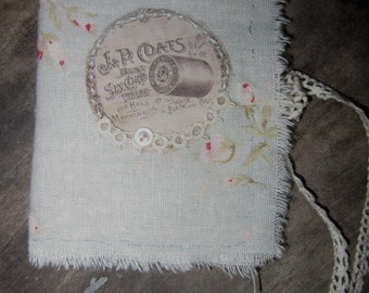 Shabby Pale Blue with Rose's Linen  Vintage Lace  Tattered Needle Book