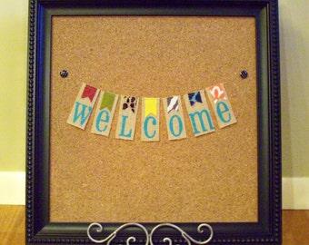 SO HAPPY 'Welcome' Mini Burlap Bunting
