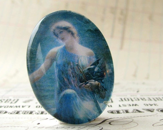 Athena, goddess of wisdom and heroes, handmade glass oval cabochon, 40x30 30x40 40x30mm 30x40mm 40 30 mm, Mykonos blue, woman, mythology