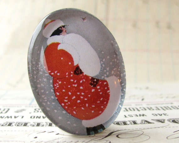 Winter's Day, woman in a red coat, white snow, fur coat, vintage fashion, 40x30 mm glass cabochon, oval cabachon, 40x30mm 30x40mm