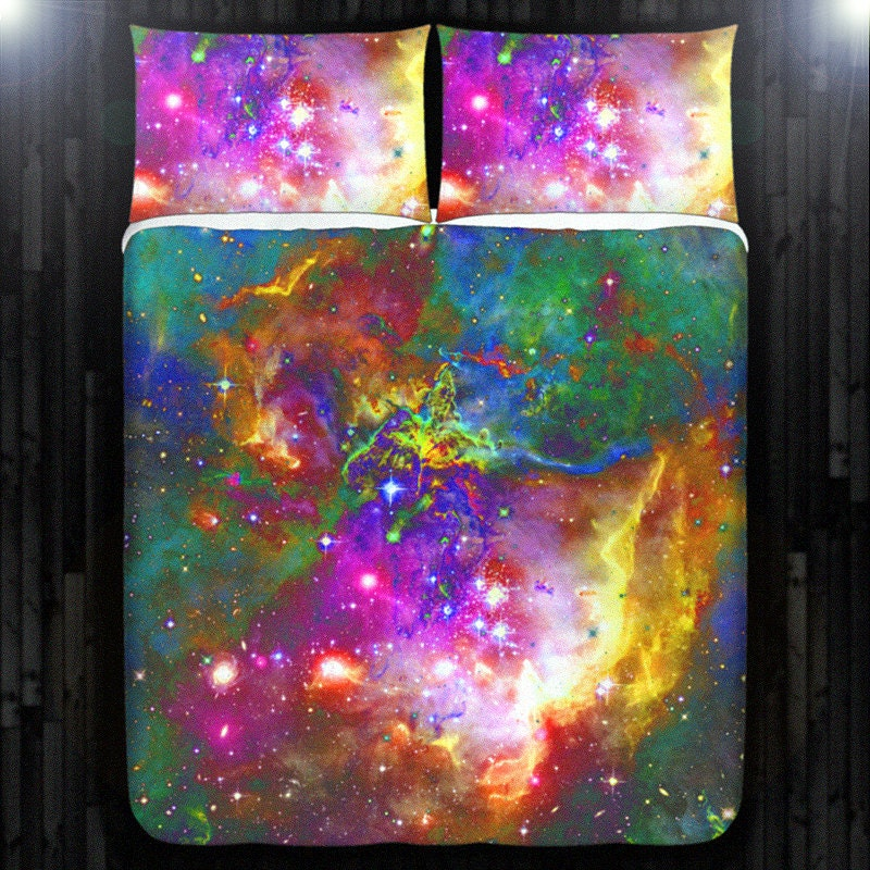 Stars nebula outer space galaxy duvet cover bedding queen size for Outer space quilt