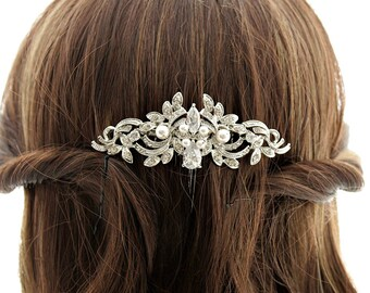 Crystal Wedding Hair Comb Accessory Silver Vintage Style Rhinestone Wedding Hair Comb with Swarovski Pearls Bridal Hair Accessories