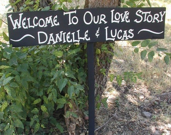 Personalized Your Name on Wood Country Wedding Sign on Stake Welcome To Our Love Story Directional Arrow