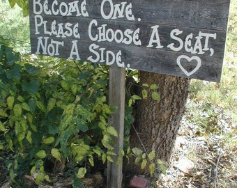 Large Rustic Wood Wedding Sign on Stake Seating Plan 4 Boards Aged with Heart
