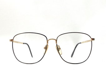 vintage 1980's NOS barrett eyeglasses round gold metal frames black enamel eye glasses modern retro mens womens accessories oversized