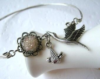 New Baby Bracelet New Mom Bracelet Stork Jewelry Baby Girl Bracelet Pink Druzy Bangle Baby Shower Silver Bird Bangle Bird Stacking Bangles