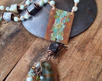 Rocky Butte Jasper Necklace - Patina - Etched Copper - Hand Tied - Amazonite - Artisan Handmade Jewelry by YaYJewelry