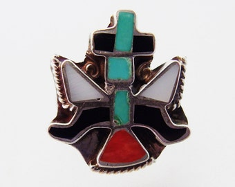 Pretty Vintage Southwest Inlaid Sterling Ring