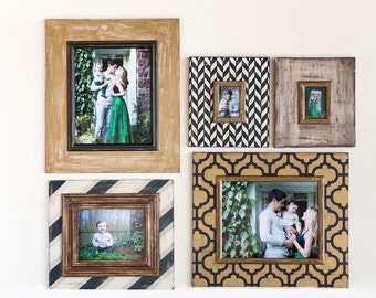 Navy and Gold Portrait Gallery Wall of Frames Rustic, Modern, and Metallic