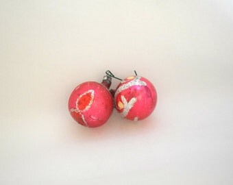 Vintage Red Glass Christmas Ornaments - Set of 2