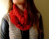 Red Hand Knitted Chunky Cowl Fall Winter Women Fashion Accessories, Simple Short Cowl
