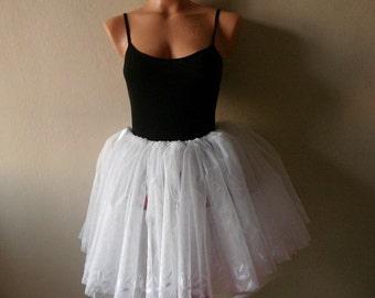 White tulle skirts for adults Womens Tutu wedding skirt  leaves under edge