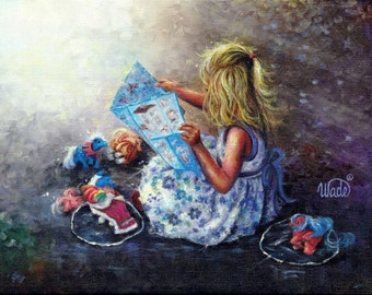 My Little Pony's Art Print of original painting, blond girl, little girls room, blue, wall decor, Vickie Wade Art