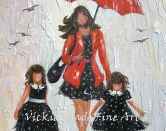 Mother and Two Daughters Art Print, red umbrella, black dresses, brunette girls, two sisters, mom, rain girls, Vickie Wade Art rain girls