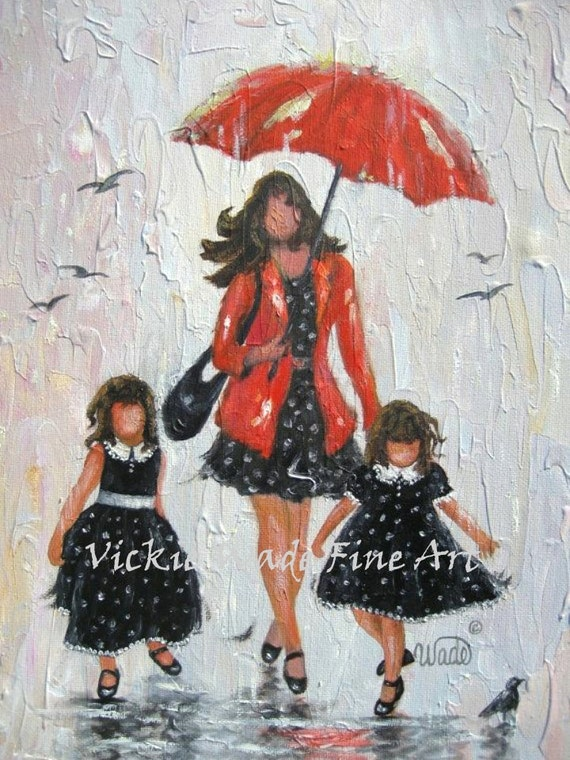 Mother And Two Daughters Art Print Mom Two Girls Rain