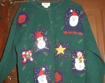 80s Lambswool Ugly Christmas CARDIGAN  Sweater   sz large snowmen,sants,gifts,candy canes,star
