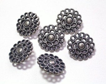 Lacey Flowers Metal Buttons 18mm Antiqued Silver Color Filgree Style Set 6 with shanks