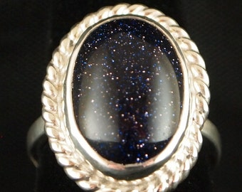 Sterling Silver and Blue Gold Stone Ring Size 7 3/4
