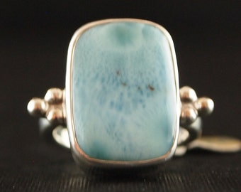 Sterling Silver and Larimar Ring Size 7 1/4