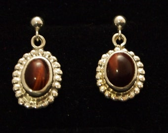 Sterling Silver and  Red Tiger Eye  Drop Earrings