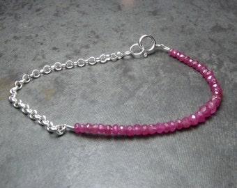 Red Ruby Faceted Rondelle and Sterling Silver Chain Bracelet