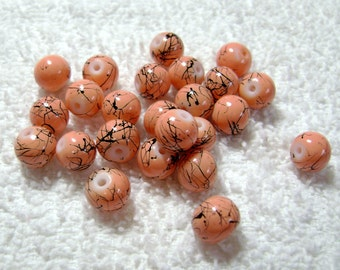 Peach Drawbench Glass Round Beads - (24 Pcs) - (8mm) - B-1333