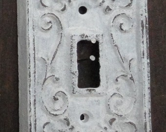 Cast iron single light switch plate shabby cottage fleur de lis chic and shabby too.