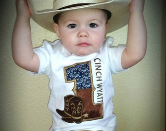 First Birthday Cowboy Birthday Shirt, 1st birthday, cowboy shirt, baby boy