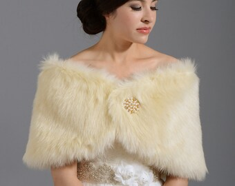 Champagne faux fur bridal wrap shrug stole shawl cape FW005-Champagne regular / plus size