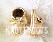 Metallic gold Moccasins unique, custom bow baby moccs