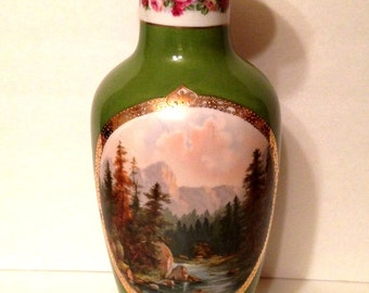Large Scenic Vase, Woodland, Austria, Victoria Schmidt and Co., 1910 early 1920's