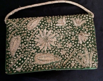 Vintage 1950's Green Velveteen and Gold Bullion Flower Evening Bag from India