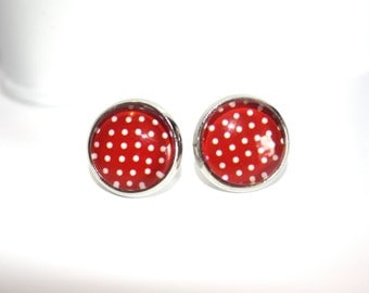 Red with White Polka Dots Stud Earrings, Silver Ear Posts, Christmas Earrings, Holiday Jewelry