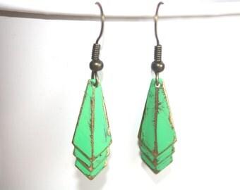 Geometric Dangle Earrings, Boho Jewelry, Deco Earrings,Raw Brass Earrings, Fall Earrings, Chevron Earrings