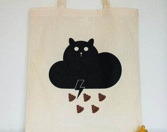 Cat bag, reusable shopping bag, cotton grocery accessory, tote bag
